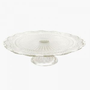 Embossed glass cake stand