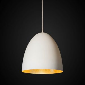 Egg Ceiling Pendant - White + Beaten Brass