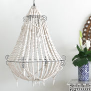 Boho White Beaded Chandelier (Large)