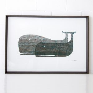 two grey whales print framed 2 whales