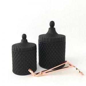 Matte Black Geometric Candle Small