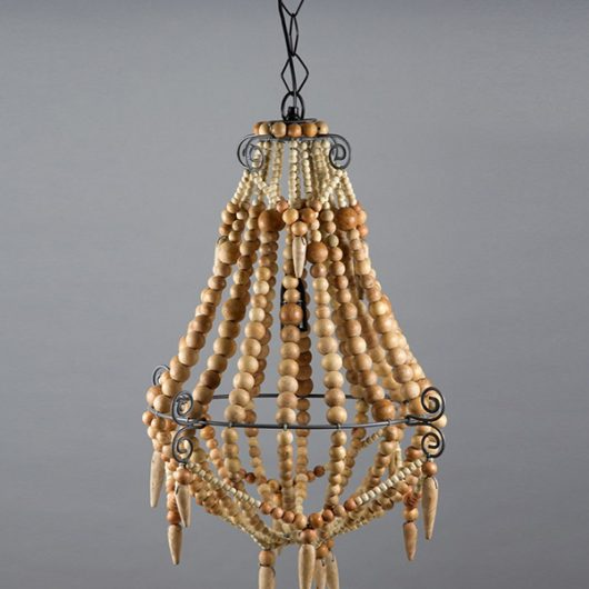 Small Boho Natural Beaded Chandelier