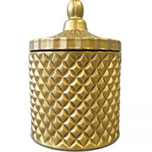 Large Matte Brass Geometric Candle