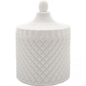 Large White Geometric Candle