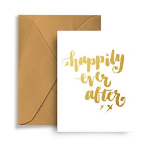 Happily Ever After Gold Foil Blank Wedding Card