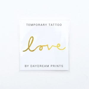 Single 'Love' Gold Foil Tattoo