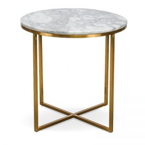 Marble and Chrome Circular Side Table