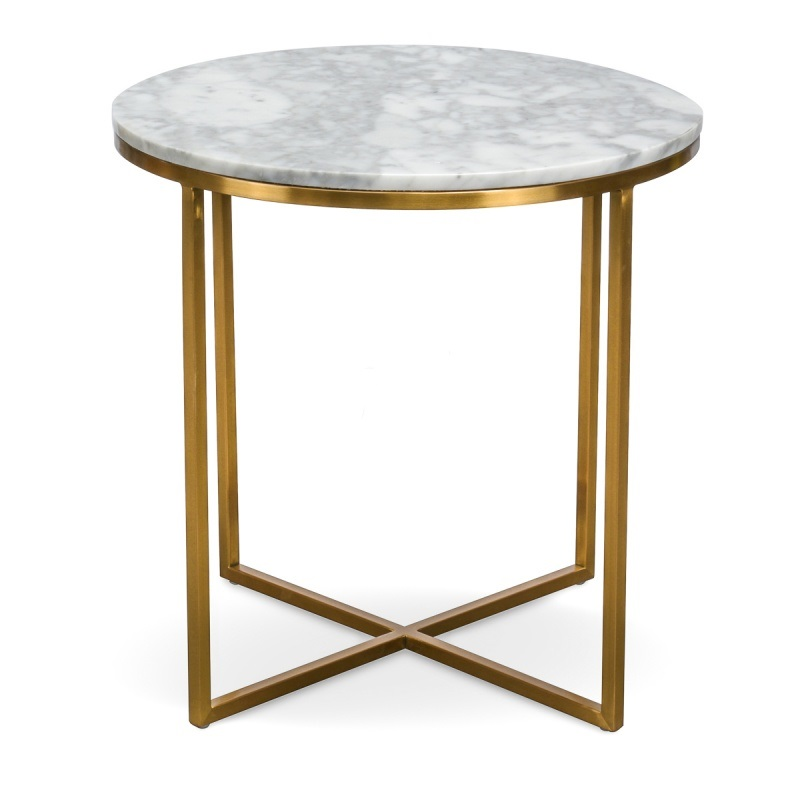 Marble and Chrome Circular Side Table | The Gilded Pear ...