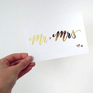 Mr + Mrs Gold Foil Blank Wedding Card