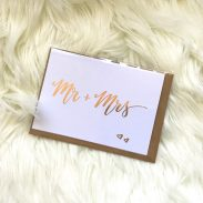 Mr + Mrs Rose Gold Foil Blank Wedding Card