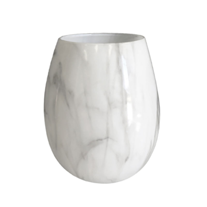 Faux Marble Stemless Wine Glass Candle