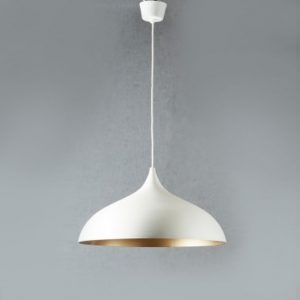 Large White with Brass Oval Pendant Light