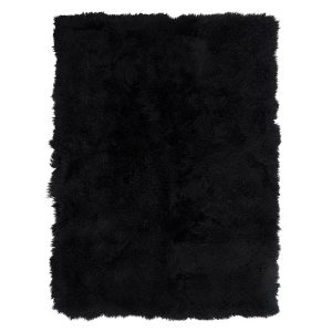 Black Mongolian Sheepskin Throw Blanket