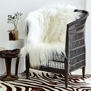 White Long Haired Himalayan Goat Skin Rug