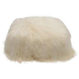 White Icelandic Sheepskin Pouffe