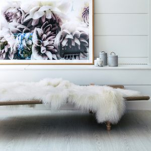 White Mongolian Sheepskin Throw Rug