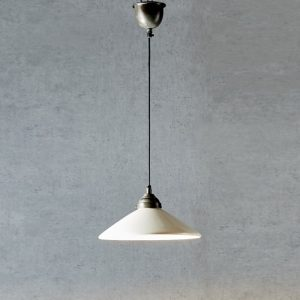 Industrial Hanging Ceramic Dish Light