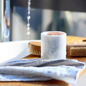 Inoko Small White Marble Candle