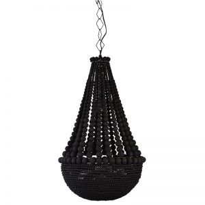 Black Wooden Beaded Chandelier