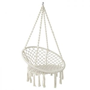 Cream Macrame Hammock Chair