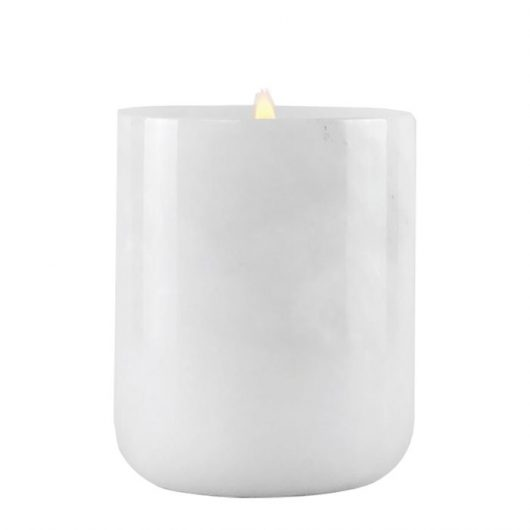 Large White Onyx Marble Candle Jar