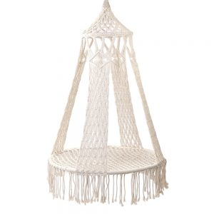 Boho Cream Tassel Hammock Hanging Chair