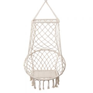 Cream Macrame Tassel Hammock Chair