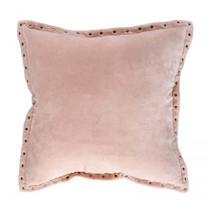 Blush Pink Velvet Rivet Cushion