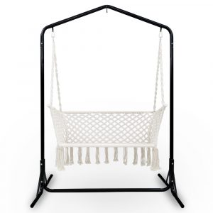 Cream Macrame Double Swing Hammock Chair